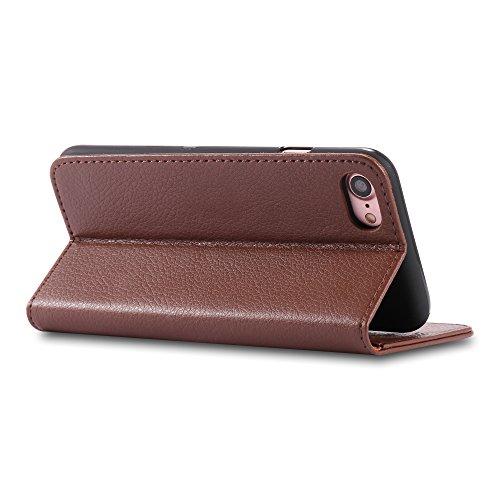Coque iPhone 7 , Aomo iPhone 7 Coque Housse en cuir Cover [Flip Case][Fente pour carte][ Porte-monnaie style] PU Protection en cuir Cas de téléphone pour iPhone 7 - Violet Marron
