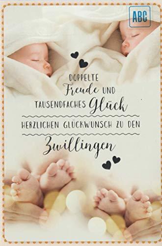 """Karte zur Geburt Zwillinge\""""Doppelte Freude\"""", B6 + Umschlag"""
