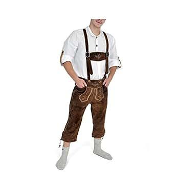 pantalon en cuir Oktoberfest hommes avec des bretelles boutons en corne de broderie Rindsvelour brun - 58