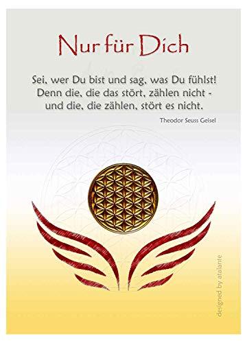 EnerChrom Blume des Lebens Glücksmünze - Nur für Dich - 1 Stück, Farbe Gold - Glücksbringer Zitat Lebensblume Talisman