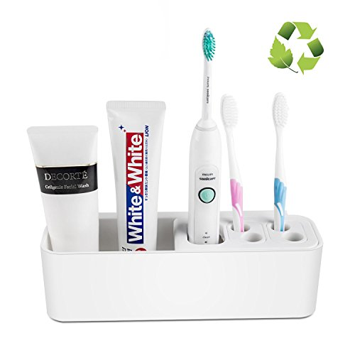 Preisvergleich Produktbild Elektrischer ZahnbürstenhalterZahnpastaspender Badezimmer Organizer Lagerung Wandhalterung mit Zahnpasta-Quetscher Weiß