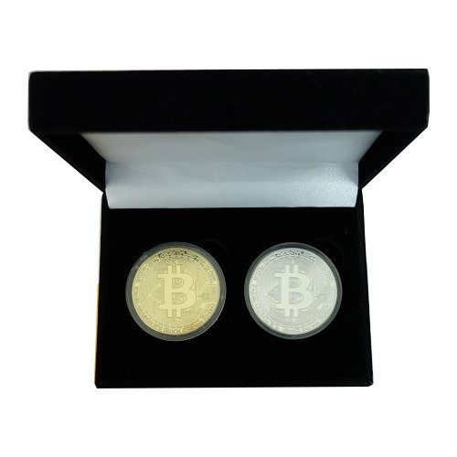 PfX Physisches 2er Bitcoin Sammler Münzen Set [mit 24-Karat Echt-Gold überzogen] inklusive edlem Münz-Etui (Gold-Silber Set)