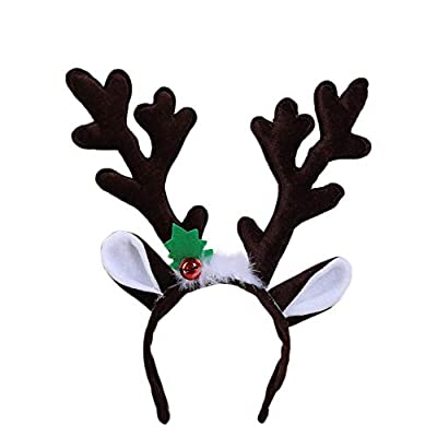 Amaone Christmas Headband, Reindeer Antler Bell Hair Hoop Head Band Clasp Long Cute Headwear Costume Accessories Decoration For Kids And Adults Xmas Holiday Party Decor