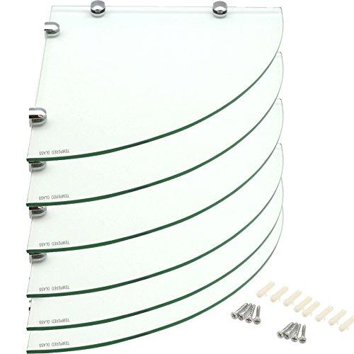 Harbour housewares mensole angolari in vetro, per bagno/camera da letto, da 300 x 300 mm - confezione da 6