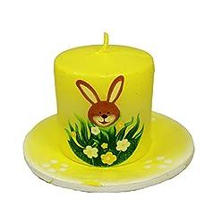 Idea Regalo - HAAC-Candela a candela su piatto con coniglio e fiore CONIGLIETTO PASQUALE PASQUA misura 7,5cm