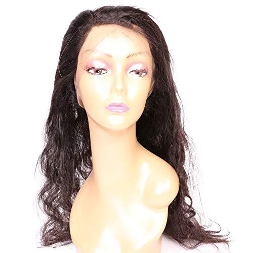 GXJ Pelucas Frontales de Encaje de Pelo Humano Virgen brasileña, 100% de Densidad Cuerpo Onda Peluca para Negro Mujeres Color Natural (8-20inches),16inch