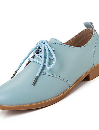 ZQ Scarpe Donna-Stringate-Casual-Comoda-Piatto-Di pelle-Nero / Blu / Marrone / Rosa / Bianco / Beige , blue-us5.5 / eu36 / uk3.5 / cn35 , blue-us5.5 / eu36 / uk3.5 / cn35 black-us6 / eu36 / uk4 / cn36