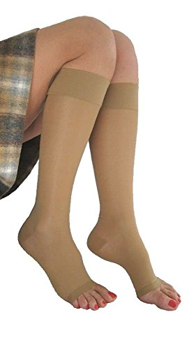 Extra Firm Compression Signature Sheer Open Toe Knee Highs 20-30mmHg