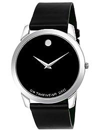 TIMEWEAR Formal Black Dial Leather Strap Slim Watch For Men