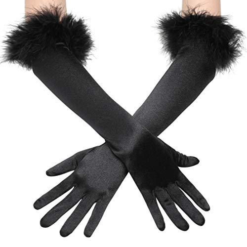 Coucoland Damen 1920s Handschuhe mit Feder Manschette Classic Opera Fest Party Audrey Hepburn Lang Handschuhe Damen Fasching Kostüm Accessoires (Stil 1 - - Audrey Hepburn Tanz Kostüm