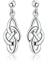 Ornami Ladies Celtic Knot and Circle Drop Silver Earrings
