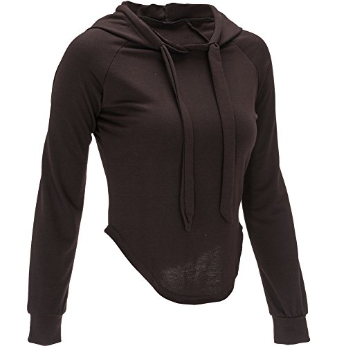 Bigood Sexy Sweat-shirt à Capuche Femme Top Crop Veste Courte Pull Manche Longue Soirée Casual Café