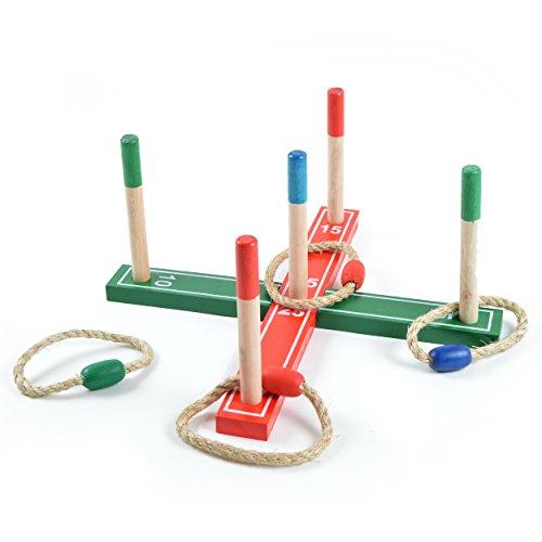 Ocean5 - lanzar anillos kit con 4 anillos - el juego clásico, juego de jardín juego de dardos - juego de habilidad en madera