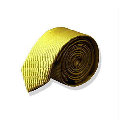 Littlefairy Herren Krawatte,5cm Anzug Krawatte männliche Version der kleinen Krawatte Mode schmale Version Anzug Champagner gelb Hohl Krawatte