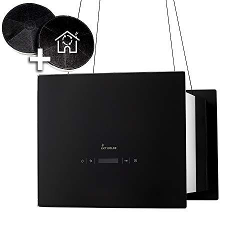 Campana extractora de diseño en isla (40 cm, acero inoxidable, cristal negro,...
