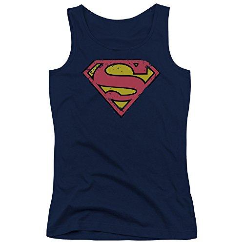 Superman - Débardeur Bouclier Distressed des jeunes femmes - Navy