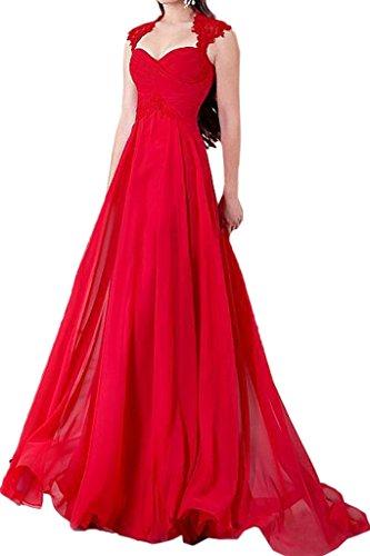 Ivydressing Damen Modisch Herz-Ausschnitt A-Linie Festkleid Partykleid Promkleid Abendkleid Rot