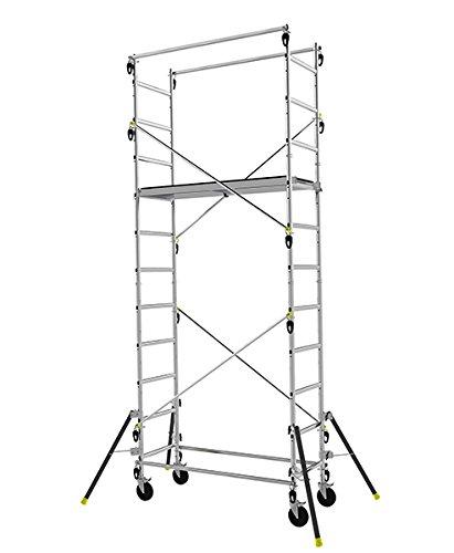 Echafaudage roulant en aluminium à structure évolutive (3 hauteurs possibles) - 4.7m haut. travail max