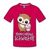Spreadshirt Kleine Lieblings Schwester Niedliche Eulen Kinder Premium T-Shirt, 110/116 (4 Jahre), Dunkles Pink