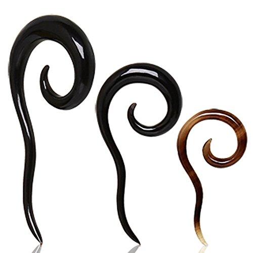 2mm Spirale mit Schwanz Büffel Horn Kegel Ohr Stretcher Ohrring