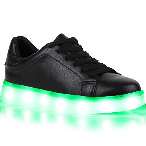 Sofort lieferbar aus DE - Leuchtende und Blinkende Damen Herren Kinder Mädchen Jungen Sneakers High und Low Led Light Farbwechsel Schuhe LED Licht Schwarz Brooklyn