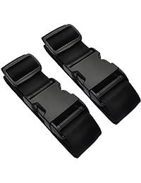 Explore Land Heavy Duty Polyester Luggage Strap Adjustable Suitcase Travel Belt (2-Pack Black)