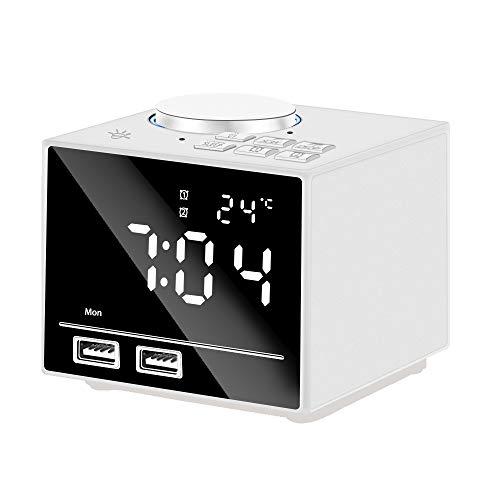 Anole Radiowecker Digital Wecker Bluetooth Wecker mit FM Radio Nachtlicht USB Ladefunktion Dimmbaren Display 2 Weckzeiten Temperaturanzeige Snooze Schlummerfunktion LED Spiegel Bildschirm(Weiß)