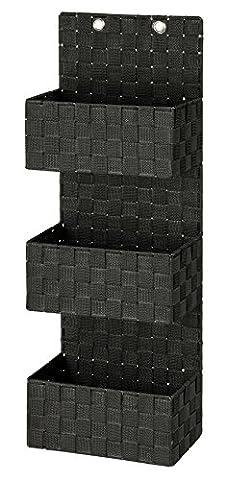 Wenko 22076100 Organizer Adria zum Hängen Badkorb, 3 Etagen, Polypropylen, schwarz, 15,5 x 25 x 72 cm