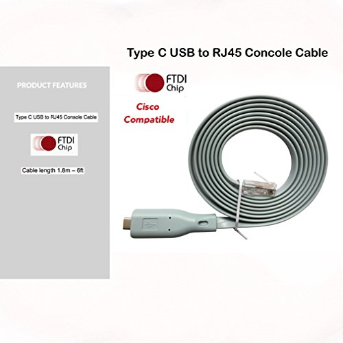Cisco-memory Card (Cisco Console Cable New Type C USB to RJ45 - 1.8M (6 ft) FTDI Chip Replaces USB to DB9 + 72-3383-01 compatible with Windows 8, 7, Vista, MAC, Linux RS232)