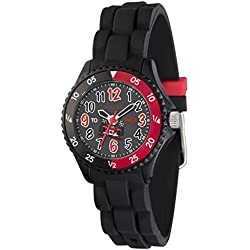 Tikkers Boys Time Teacher Black & Red Racing Car Design Black Rubber/Silicone Strap Watch - NTK0007