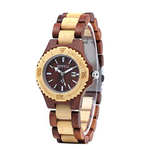 Bewell Lässig Große Leuchtende Damen Holz Armbanduhr Rot und Beige Analog Quarz Runde Weibliche Uhren mit Datum