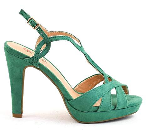 Zapatos tacón Plataforma Tiras Cruzadas Empeine Ante