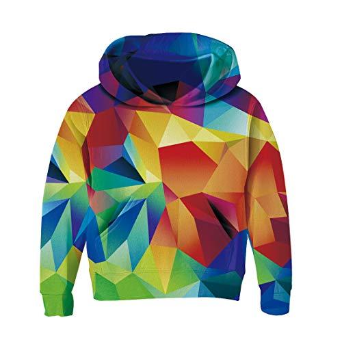RAISEVERN Kinder Jungen Mädchen 3D Print Fleece Pullover Hoodies Sweatshirt mit Känguru-Tasche Bunte Geometrische Basketball-fleece-sweatshirt