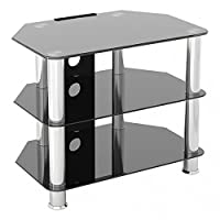 Gloss Black Glass TV Stand for LED, LCD, Plasma, Curved TVs,