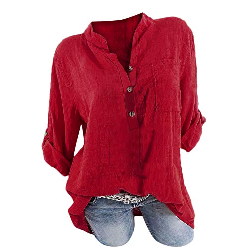 MEIbax Hemd Damenmode Plus Size Solid Taschen Knopf Langarm Shirt Tops Bluse Casual Oberteile