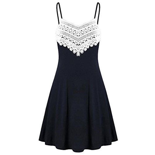 Jiameng ❤️ vestito da donna, gonna di maglia vestito a canotta vestito elegant mini abito cinturino in pizzo, abito maniche con scollo a barchetta in pizzo senza schienale (xxl, nero)