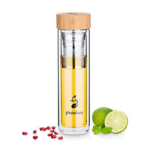 Greenbeen Teeflasche mit Sieb to go, Glasflasche mit Fruchteinsatz für 450ml Detox Wasser, Eistee oder Fruit Infused Water (Isolierte Glas-karaffe)