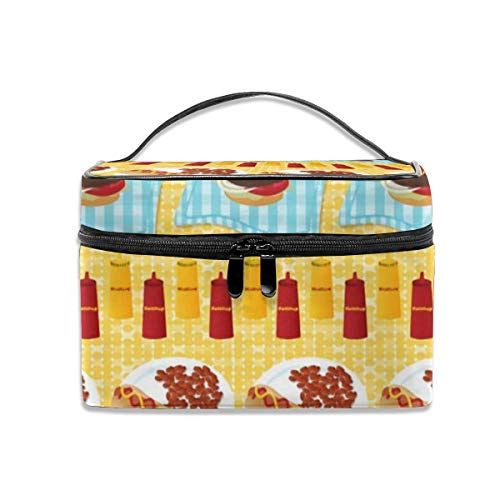 16 Rolling Tote (Portable Travel Toiletry Bag Organizer,Backyard Cookout Stripe Cosmetic Bags for Women Girl,Makeup Bag, Storage Bag)