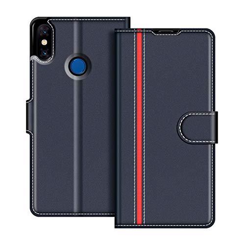 COODIO Funda Xiaomi Mi Mix 3 con Tapa, Funda Movil Xiaomi Mi Mix 3, Funda Libro Xiaomi Mi Mix 3 Carcasa Magnético Funda para Xiaomi Mi Mix 3, Azul Oscuro/Rojo