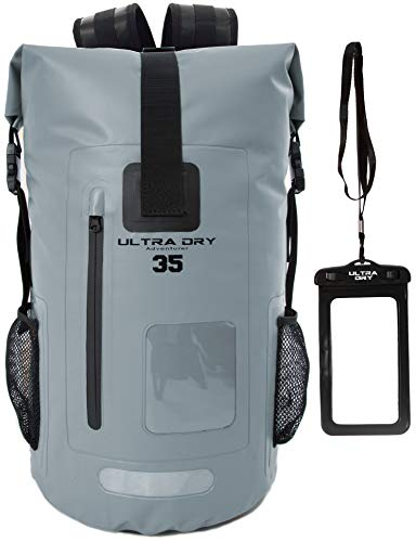 Ultra Dry Adventurer Sac à dos étanche avec pochette étanche pour téléphone - Idéal pour bateau, kayak, pêche, rafting, natation, camping et snowboard