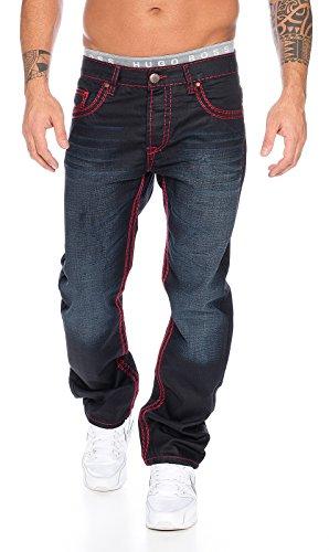 Rock Creek Herren Jeans Hose Schwarz RC-2092 [W33 L34] (Rock Langer Jeans)