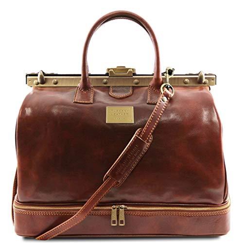 Tuscany Leather Barcellona Borsa da viaggio in pelle con doppio fondo Marrone