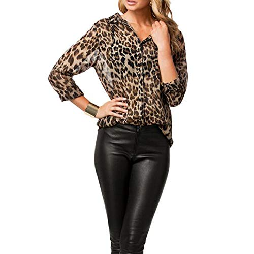 IZHH Damen Hemd Mode Leopardenmuster Langarm V-Ausschnitt Button Down Chiffon Bluse Täglich Lässige Lose Tops Langarmshirt(Kaffee,XX-Large)