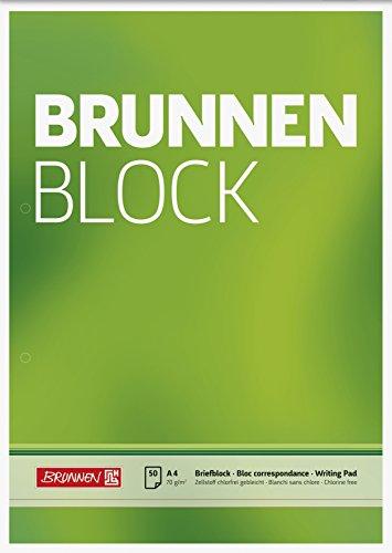 Brunnen 1052756 Briefblock/Schreibblock/Der Brunnen Block (A4, blanko, 50 Blatt, 70 g/m², 2-fach gelocht)