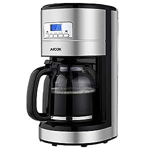 Aicok  Macchina Caffè Americano, Macchina per Caffè Elettrica 12 Tazze, Caffettiera Americana Programmabile, Caffettiera in vetro con Timer,Filtri Caffe Americano, 1000 Watts, Nero