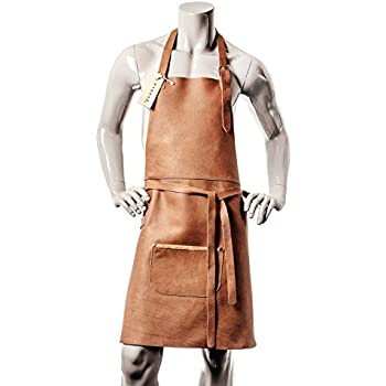Outset Leather BBQ Grill Bib Apron Kitchen Cooking