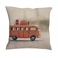 "baotejianzhucailiao Bus Model Cushion Cover - Toy Bus Curtain Decor New Living Style Linen Sofa Cushion Case 18""×18"" for Photography Decor white 18x18inch"