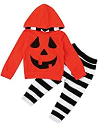 Covermason Bebé Unisex Halloween Calabaza Impresión Sudaderas con Capucha y Rayas Pantalones (2PCS/1 conjunto)