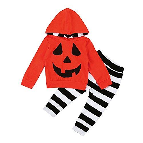 Kword halloween infantile due pezzi set,bambino neonato ragazze ragazzi zucca hooded camicetta + stripe pantaloni abiti set per halloween party (arancione, 24 mesi)