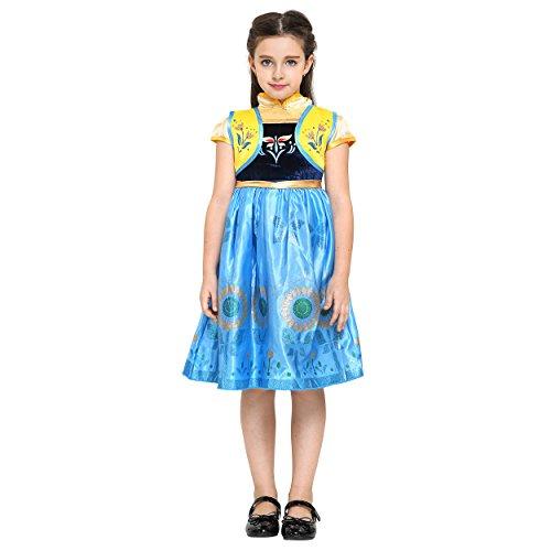 Katara - Party-Fieber Anna Kostüm-Kleid für Kinder inspiriert von Disney für Karneval, Fasching, (Anna Inspirierte Kostüm)